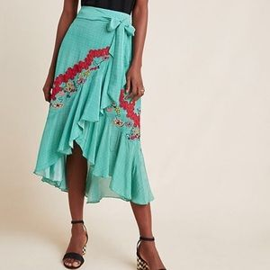ANTHROPOLOGIE | Embroidered Midi Ruffle Skirt Sz L